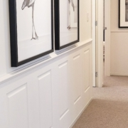Colonial Wall Linings - Bedroom Hallway with Wainscoting Wall Panels featuring Timber Moldings - MDF Moldings - Dado Rail, Belt Rail, Skirt, Skirts, Skirting, Architrave, Architraves