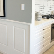 Colonial Wall Linings - Kitchen with Wainscoting Wall Panels featuring Timber Moldings - MDF Moldings - Dado Rail, Belt Rail, Skirt, Skirts, Skirting, Architrave, Architraves